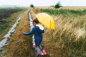 Little Caucasian girl walking with umbrella under the rain