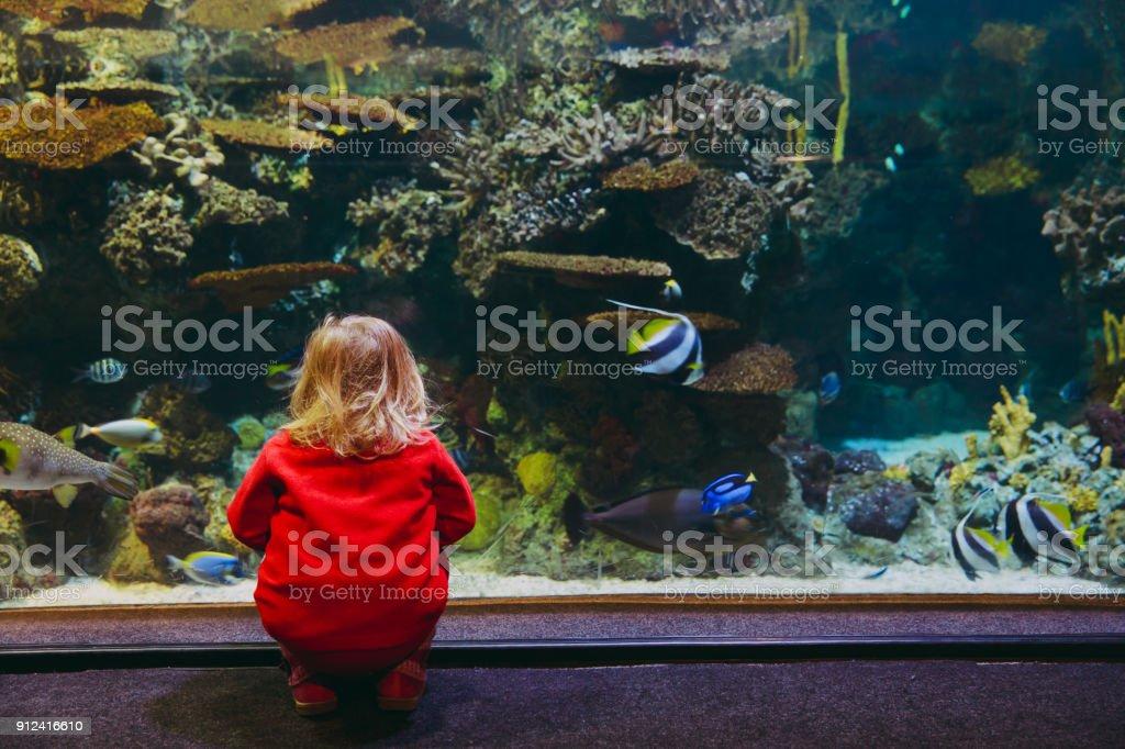 小さな女の子お魚に大きな水族館 ストックフォト