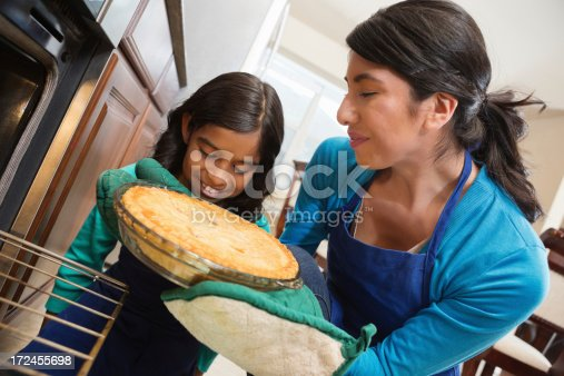 istock Little girl watching mother take apple pie from oven 172455698