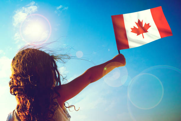 little girl waving canadian flag - canada day stock pictures, royalty-free photos & images