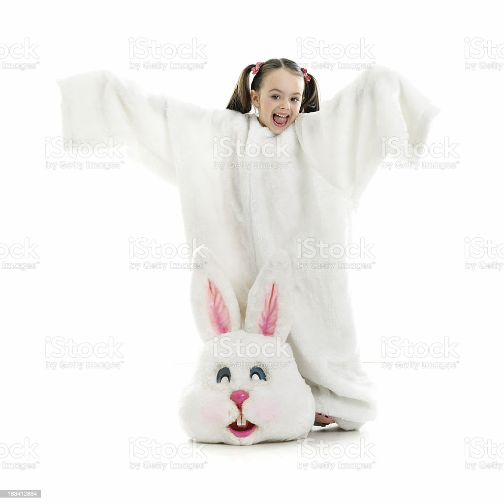 Little girl wearing bunny costume stock photo
