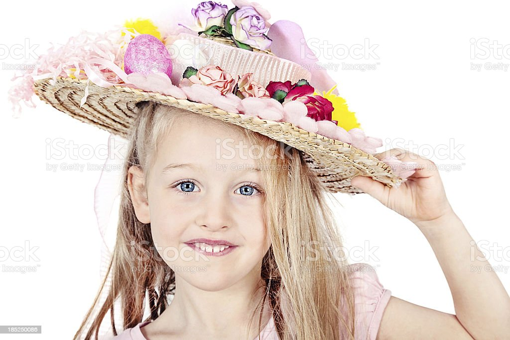 Little Girl Wearing Easter Bonnet royalty-free stock photo