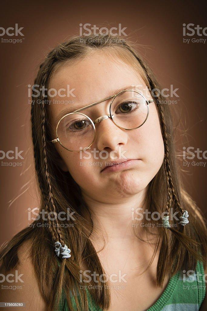 Little Girl Wearing Nerdy, Vintage Glasses royalty-free stock photo