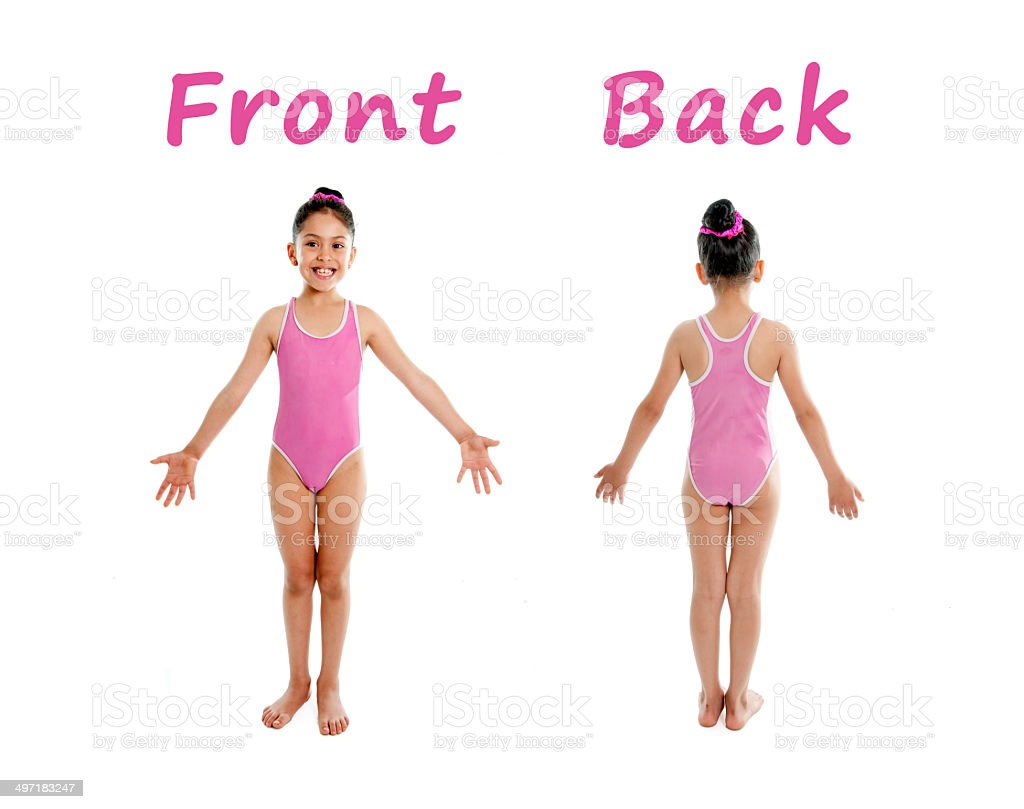 Little Girl Wearing Pink Swimsuit For Body Parts School Chart Stock
