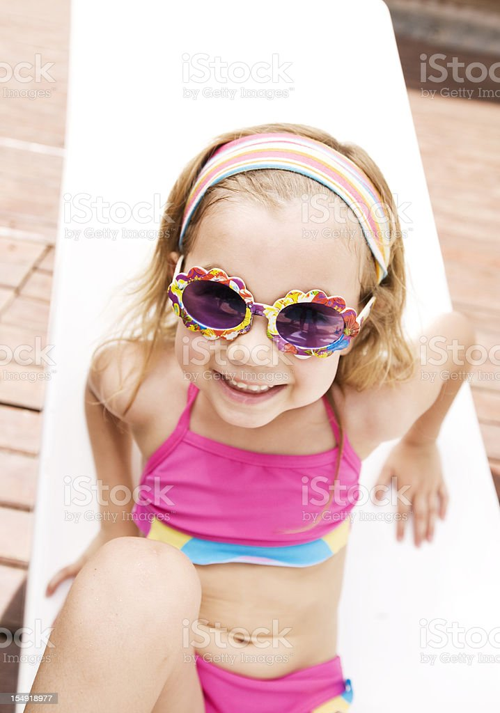Little Girl Wearing Sunglasses Outdoors royalty-free stock photo