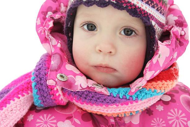 Little girl wearing winter cloths stock photo