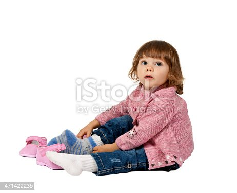 istock little girl wears shoes on a white floor 471422235