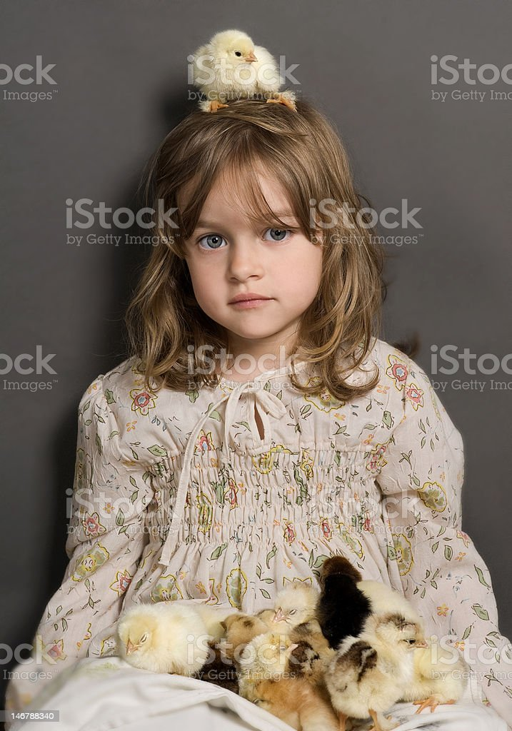 Little girl with a baby chick on her head royalty-free stock photo