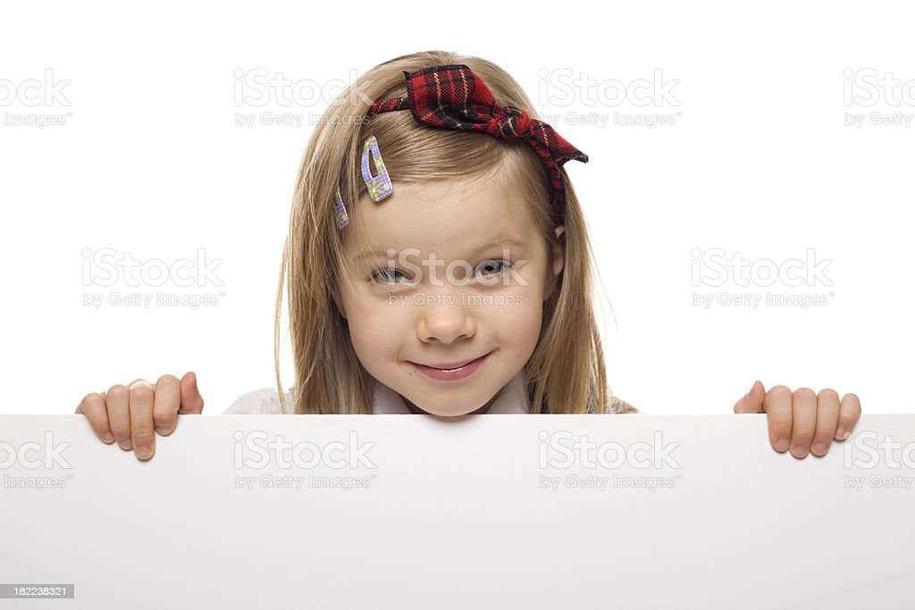 Little Girl With A Blank White Board royalty-free stock photo
