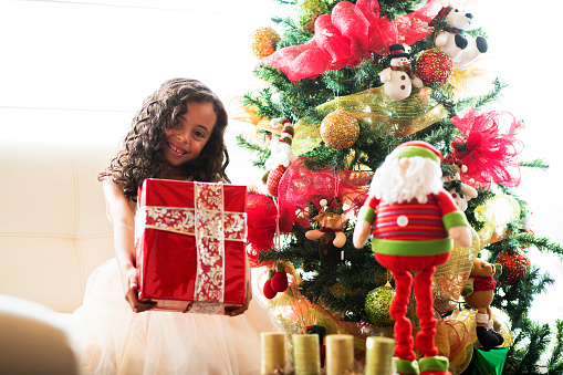 Little girl with a christmas present