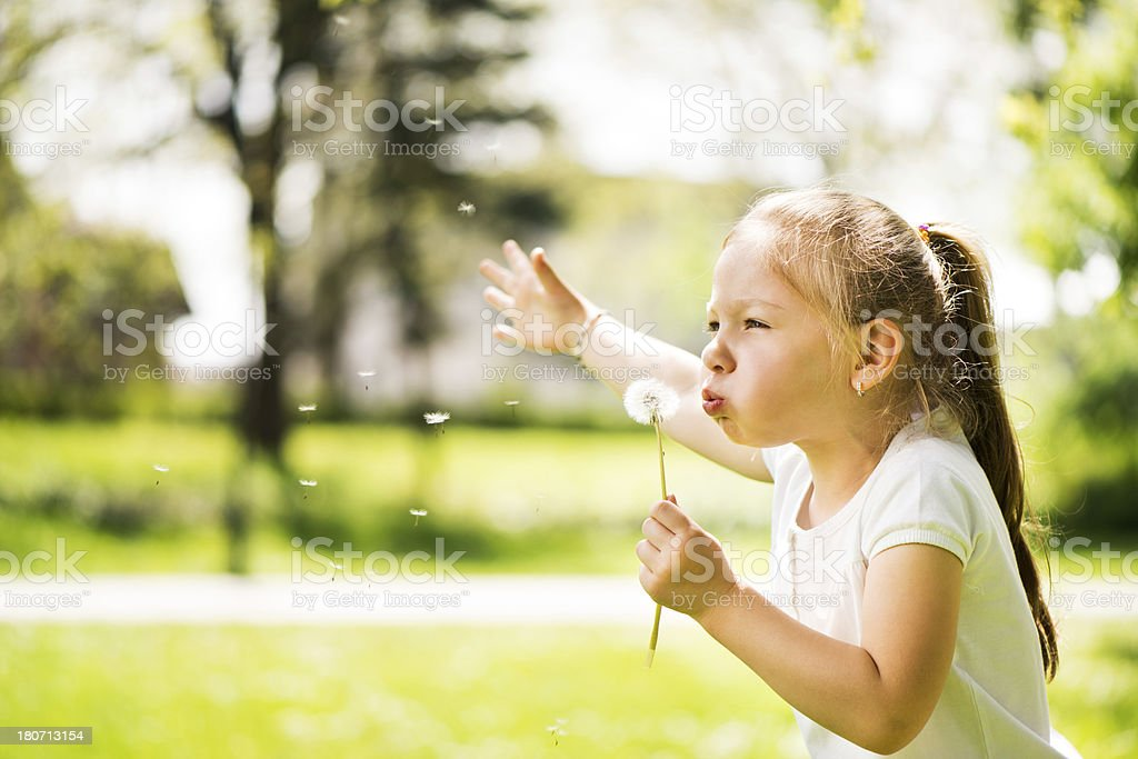 Little girl with a dandelion royalty-free stock photo