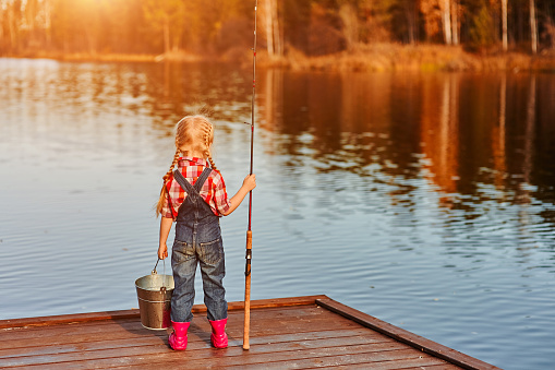 istock little girl with a fishing rod and a bucket came fishing and looks at the pond. Back view 1179711430