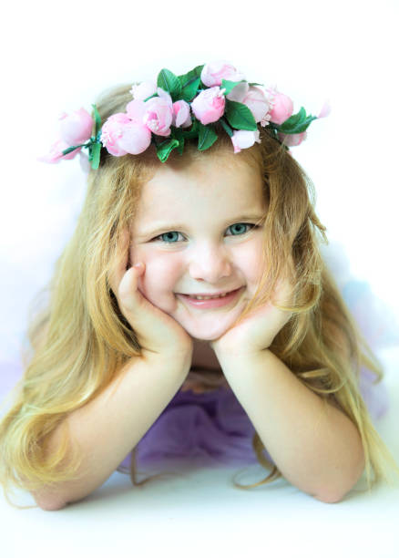 Little Girl with a Flower Crown stock photo