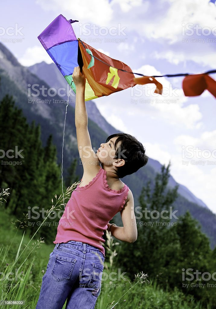 Little Girl with a Kite stock photo