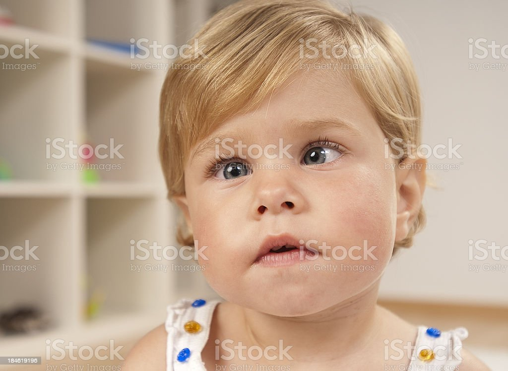 Little Girl With Amblyopia Illness stock photo