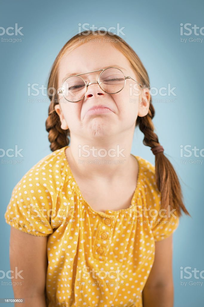 Little Girl With an Attitude, Wearing Vintage, Nerdy Glasses royalty-free stock photo