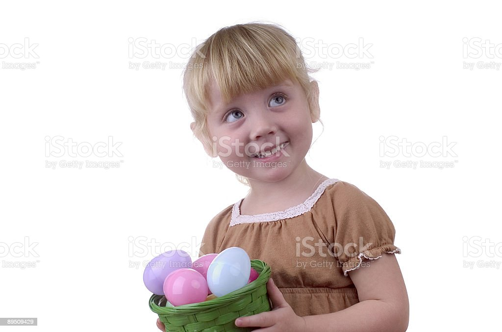 Little Girl with an Easter Basket royalty-free stock photo