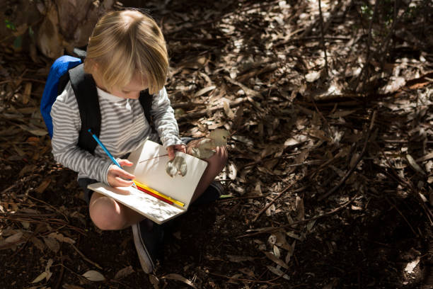 Little girl with backpack sitting on ground writing in notebook stock photo