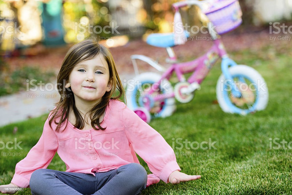 Little Girl With Bike royalty-free stock photo