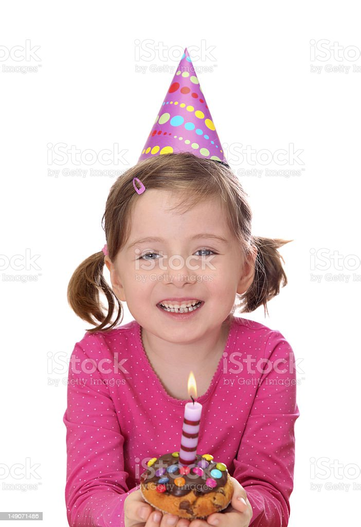 Little girl with birthday cake royalty-free stock photo