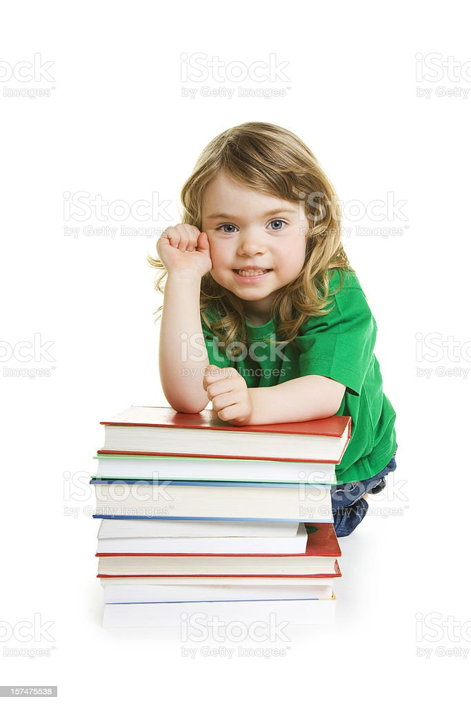 Little Girl with books isolated on white royalty-free stock photo