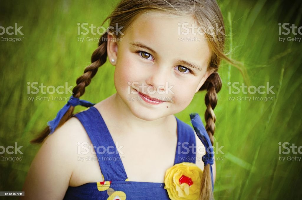 Little Girl with Braids royalty-free stock photo