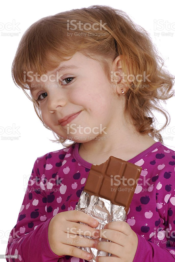 little girl with chocolate royalty-free stock photo
