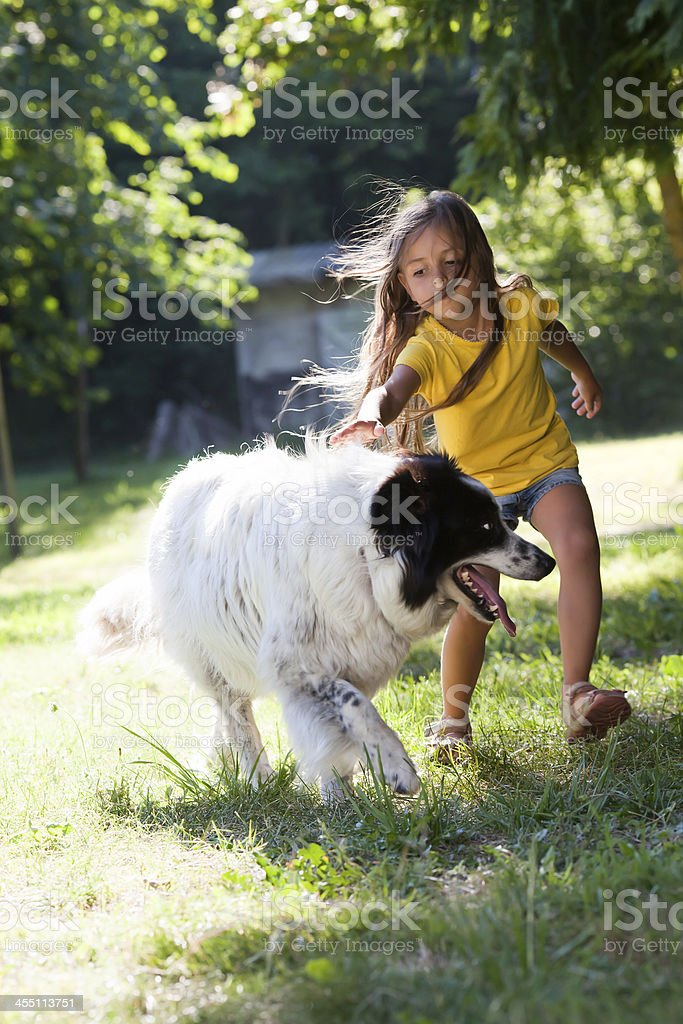 Little girl with dog running royalty-free stock photo