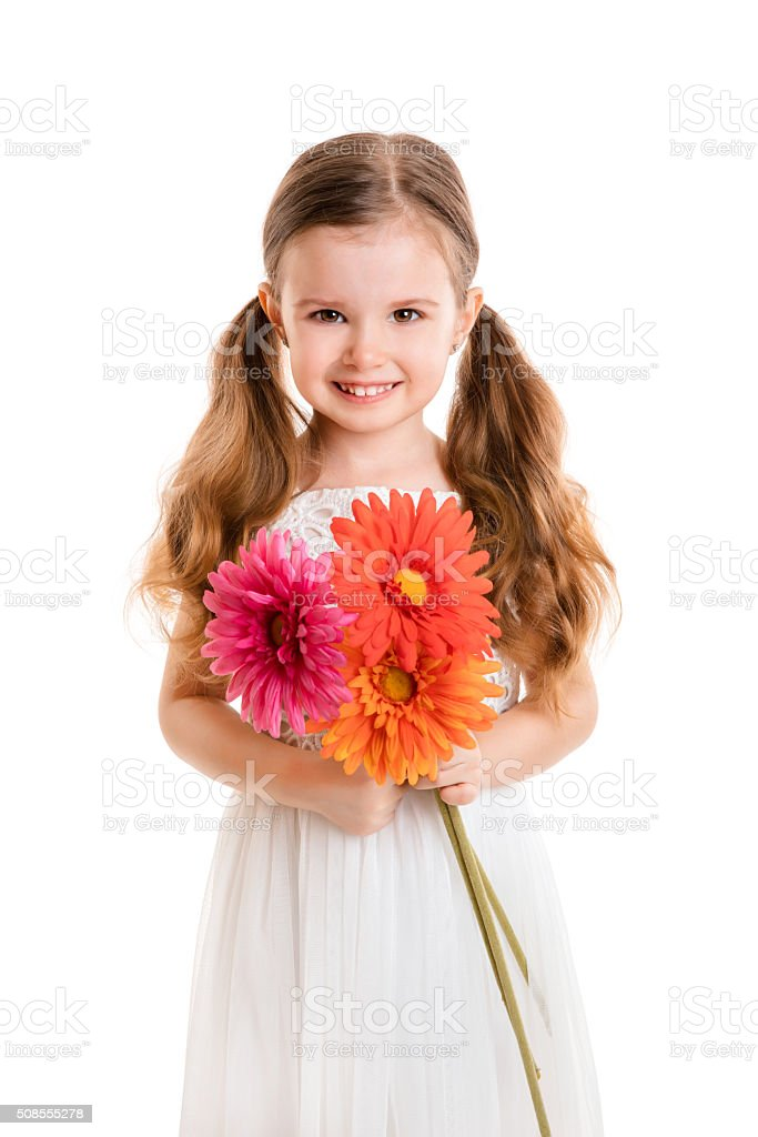 little girl with flowers(isolated on white background, isolated) stock photo