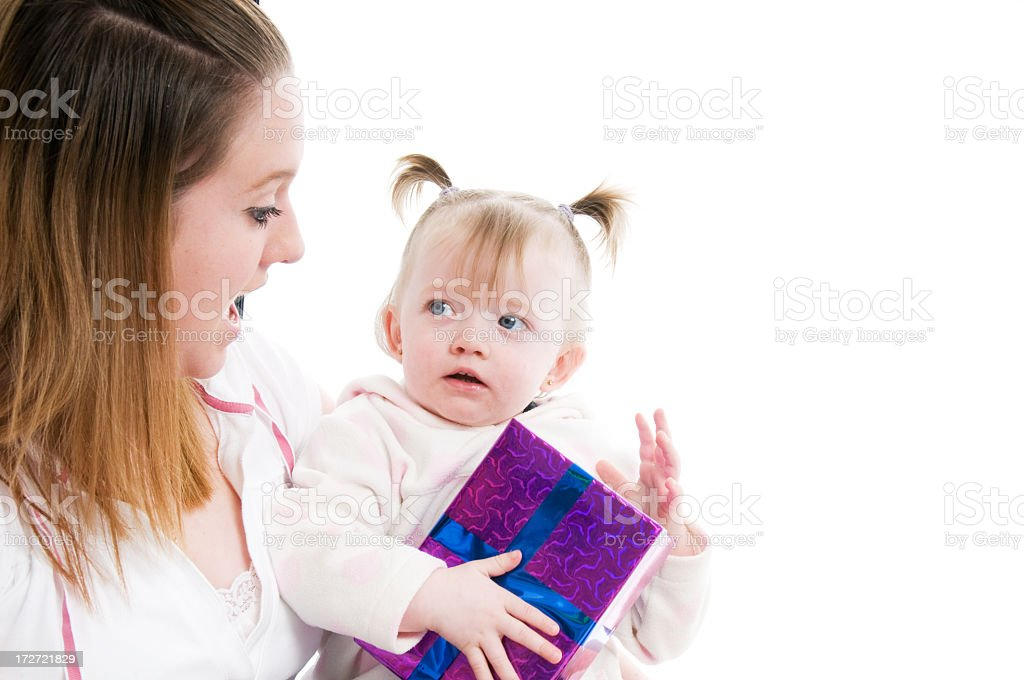Little girl with gift box royalty-free stock photo