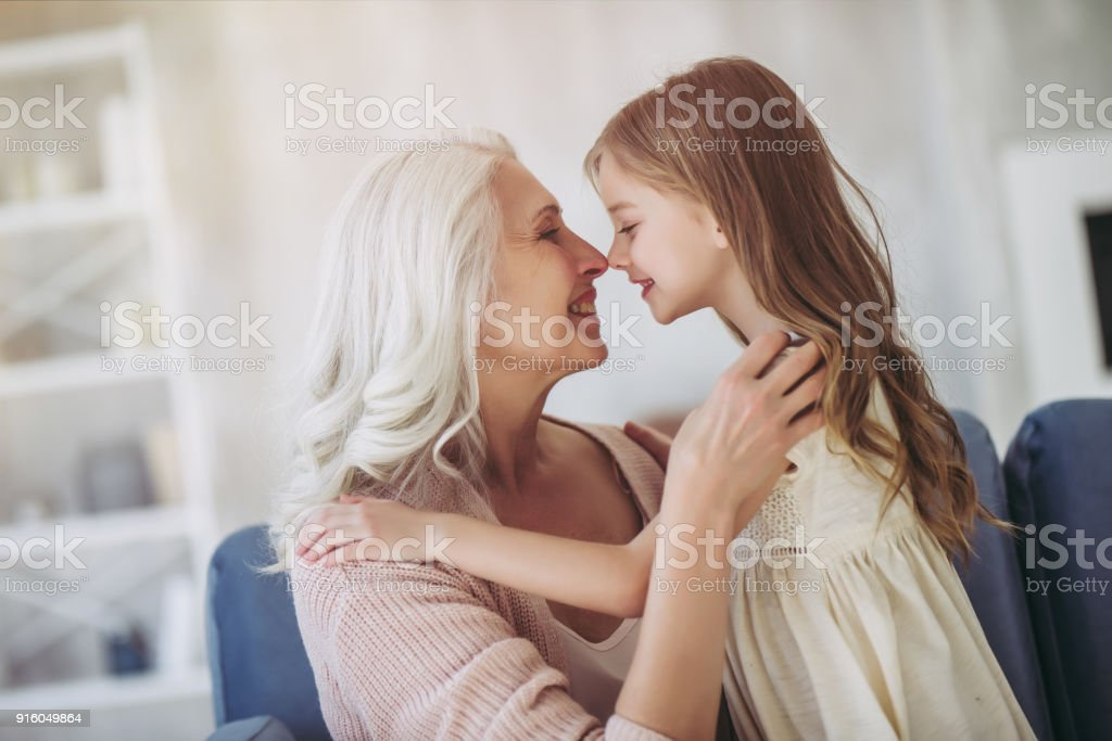 Little girl with grandmother royalty-free stock photo