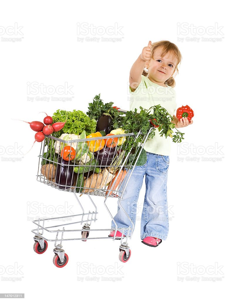 Little girl with healthy food royalty-free stock photo