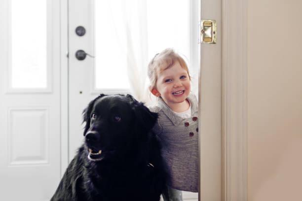 Kleines Mädchen mit Hund – Foto