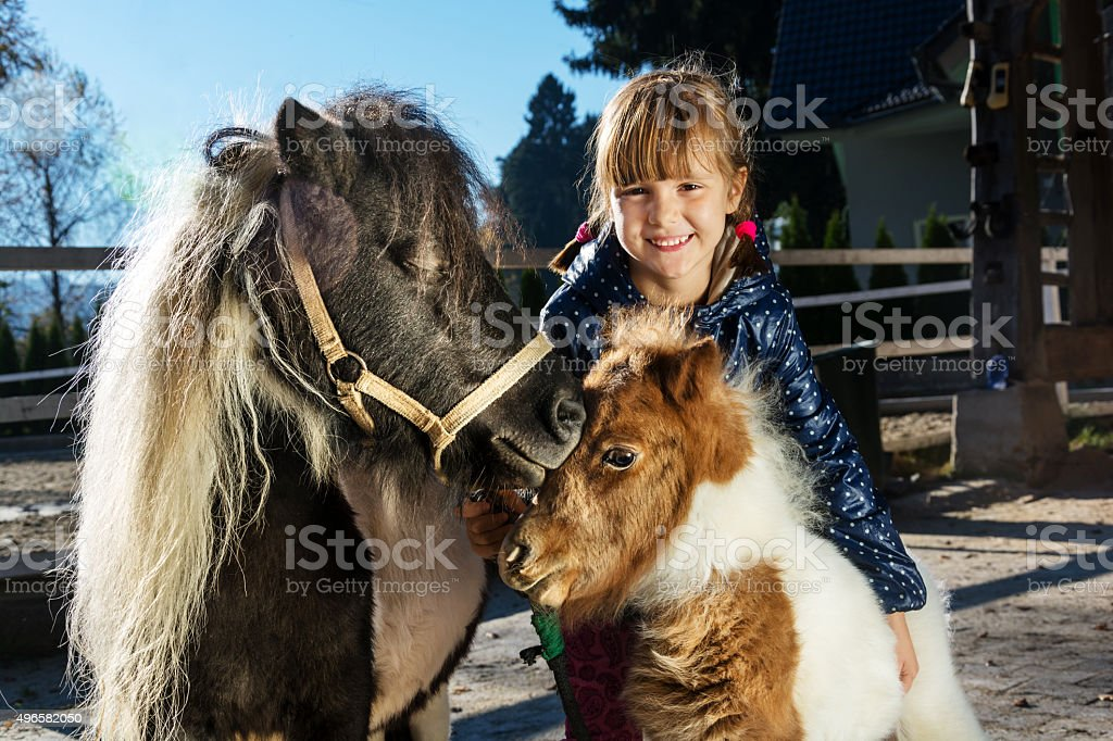 Little girl with her pony pets - mare and foal stock photo
