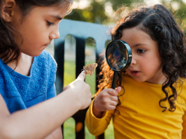 Little girl with her sister observing a butterfly stock photo