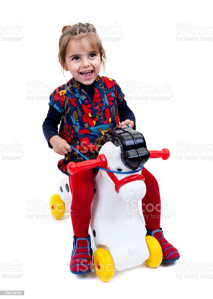 little girl with hobby horse royalty-free stock photo