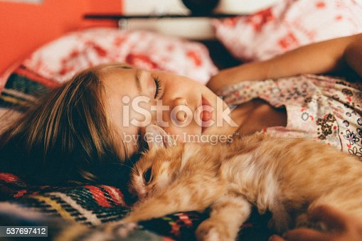 istock Little girl with kittens 537697412