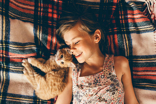 little girl with kittens - kitten stock photos and pictures