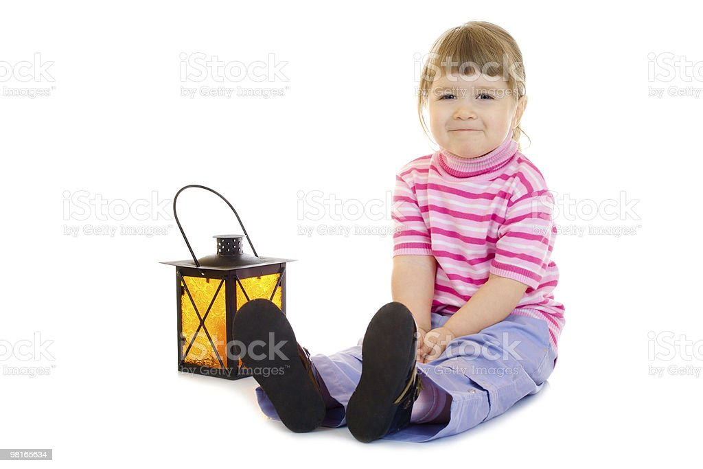Little girl with lantern royalty-free stock photo