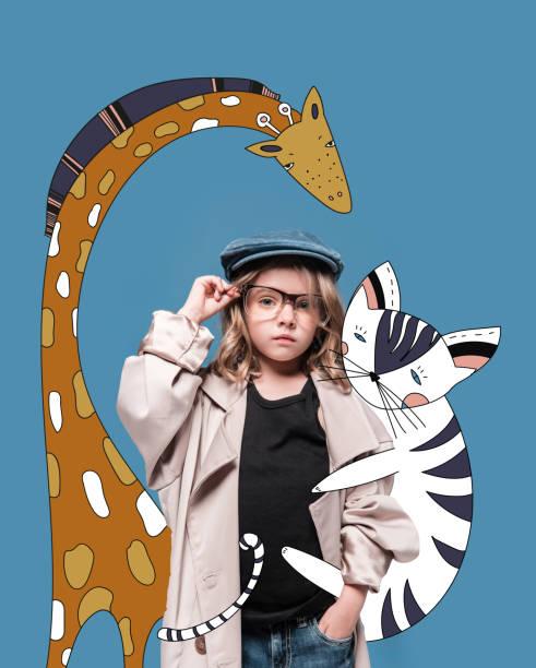meisje met magische dieren - sleeping illustration stockfoto's en -beelden