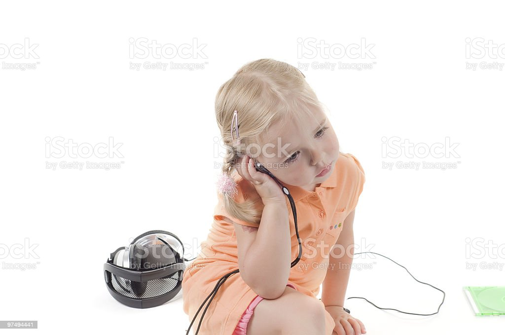 Little girl with mobile royalty-free stock photo