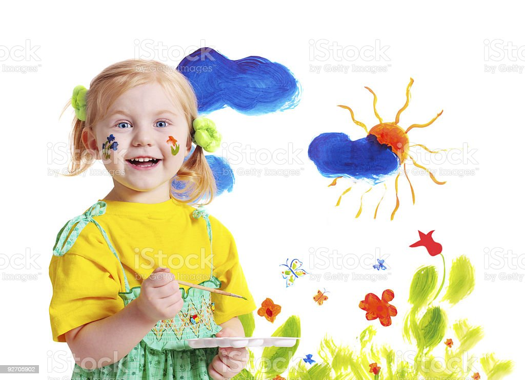 little girl with paint royalty-free stock photo