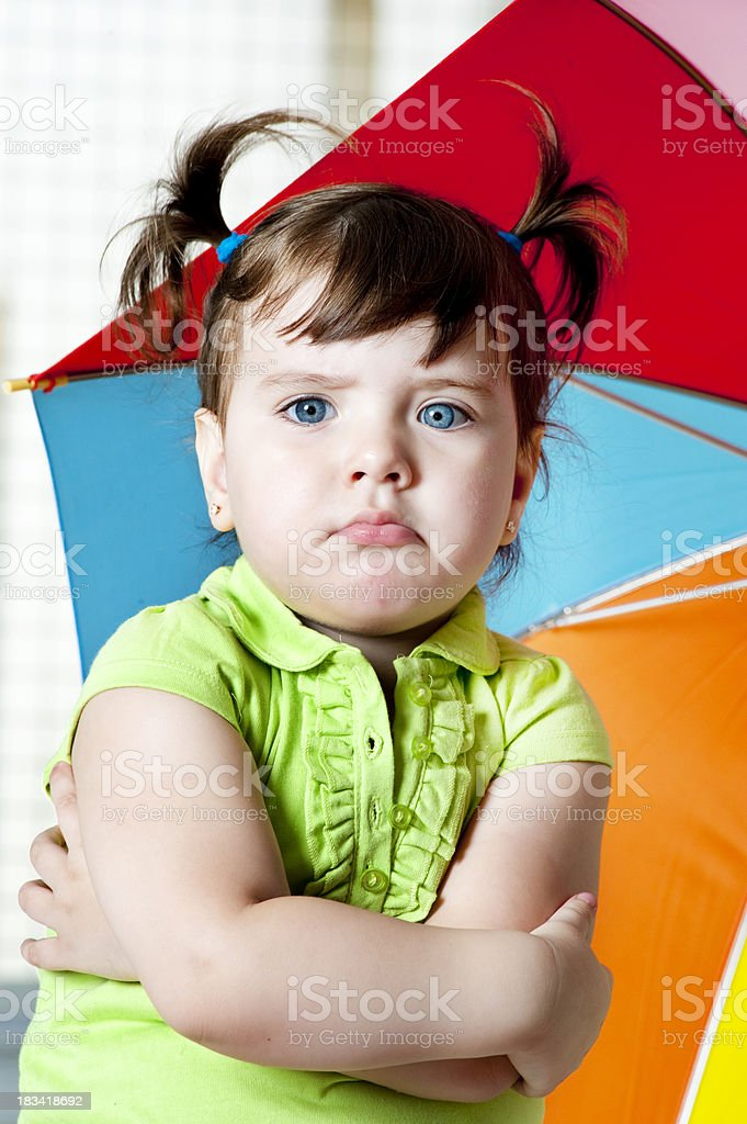 Little girl with pouty face. royalty-free stock photo