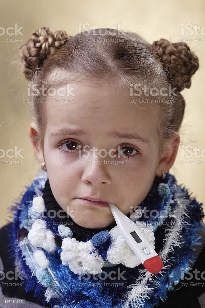 Little girl with red eyes having the flu royalty-free stock photo