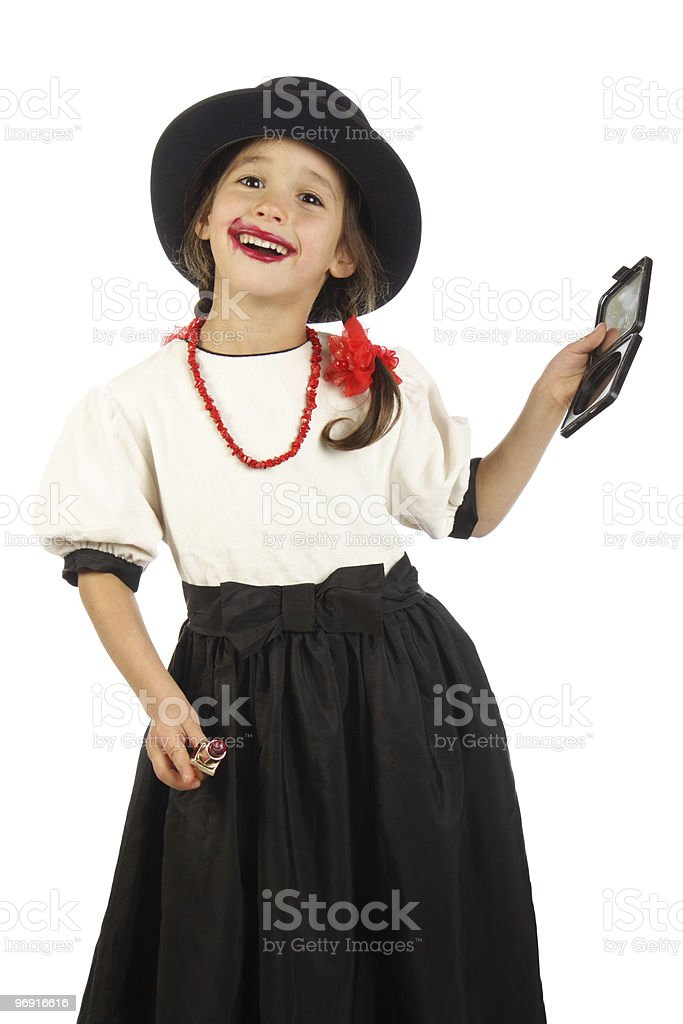 little girl with red lipstick royalty-free stock photo