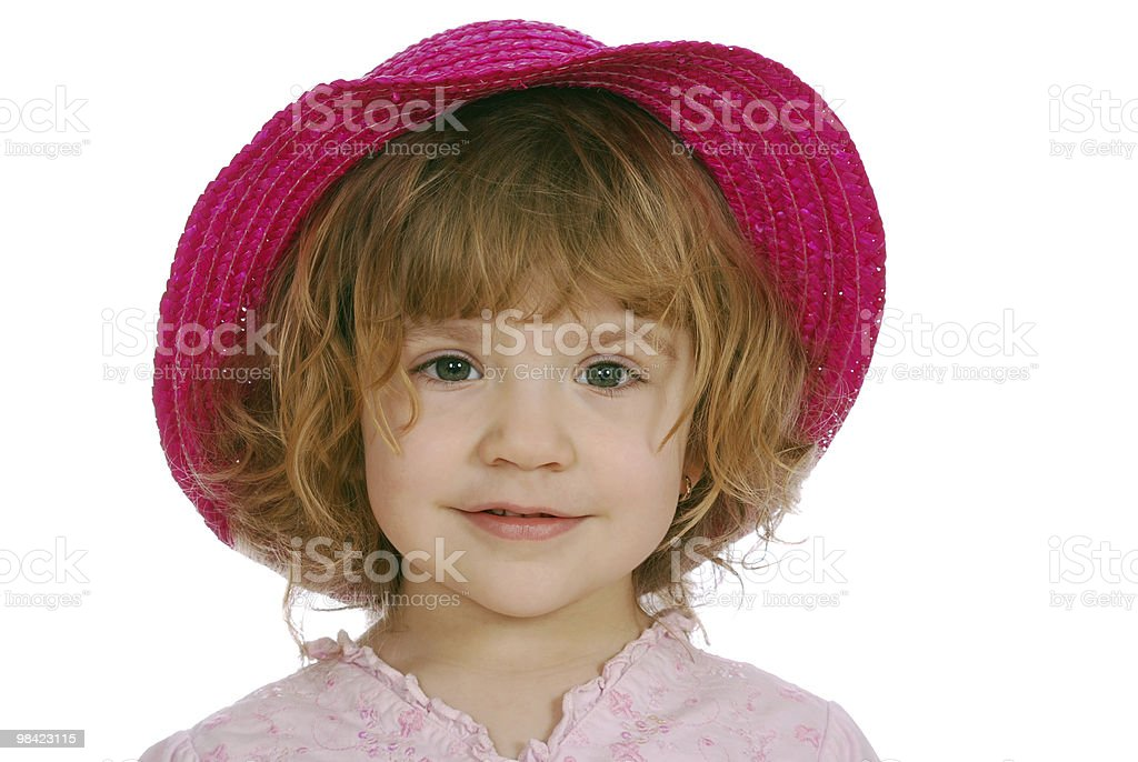 little girl with red straw hat royalty-free stock photo