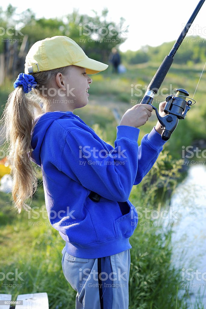 Little girl with rod royalty-free stock photo
