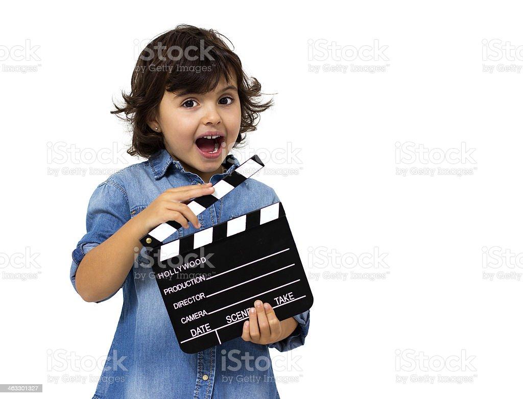 little girl with slate stock photo