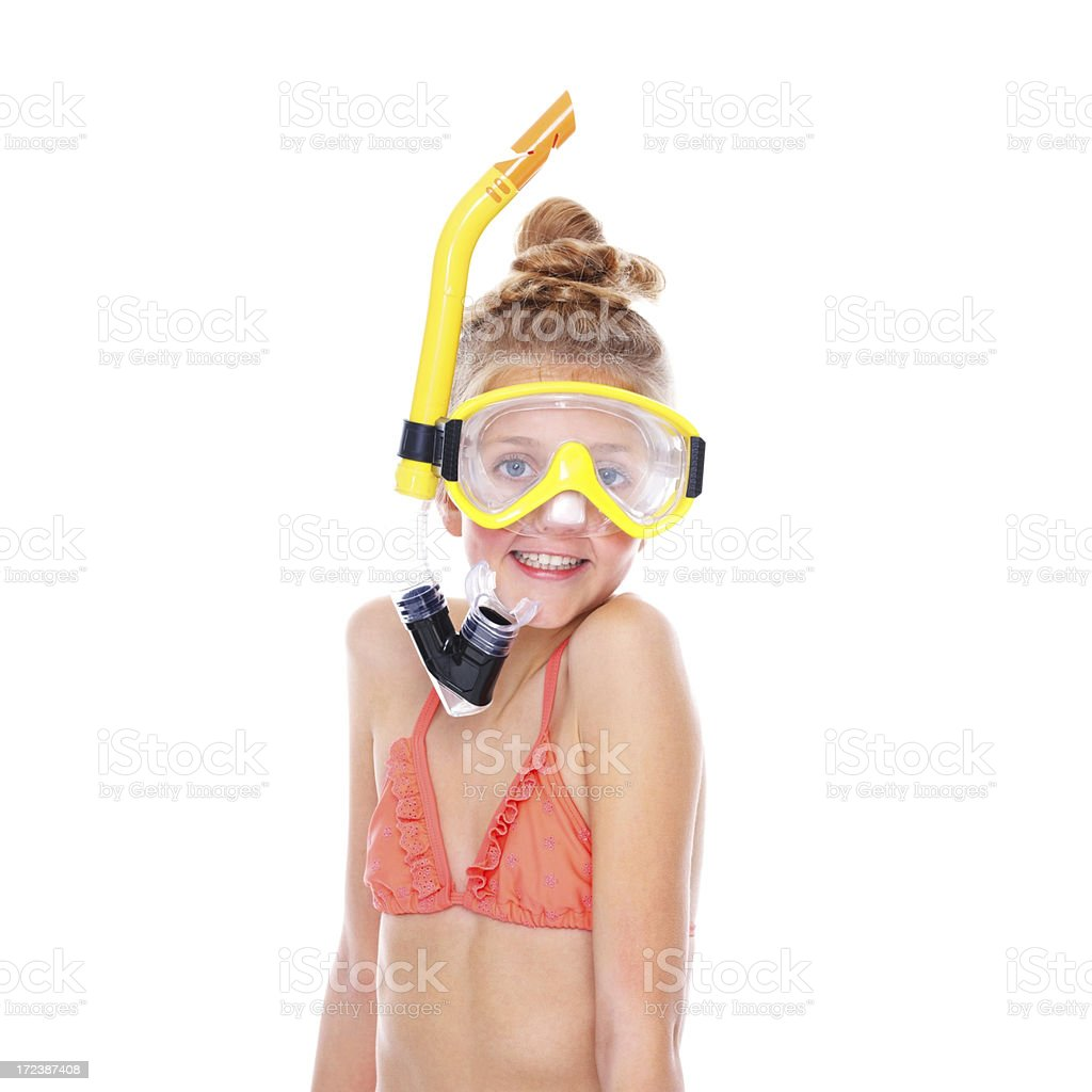 Little girl with snorkel equipments over white royalty-free stock photo