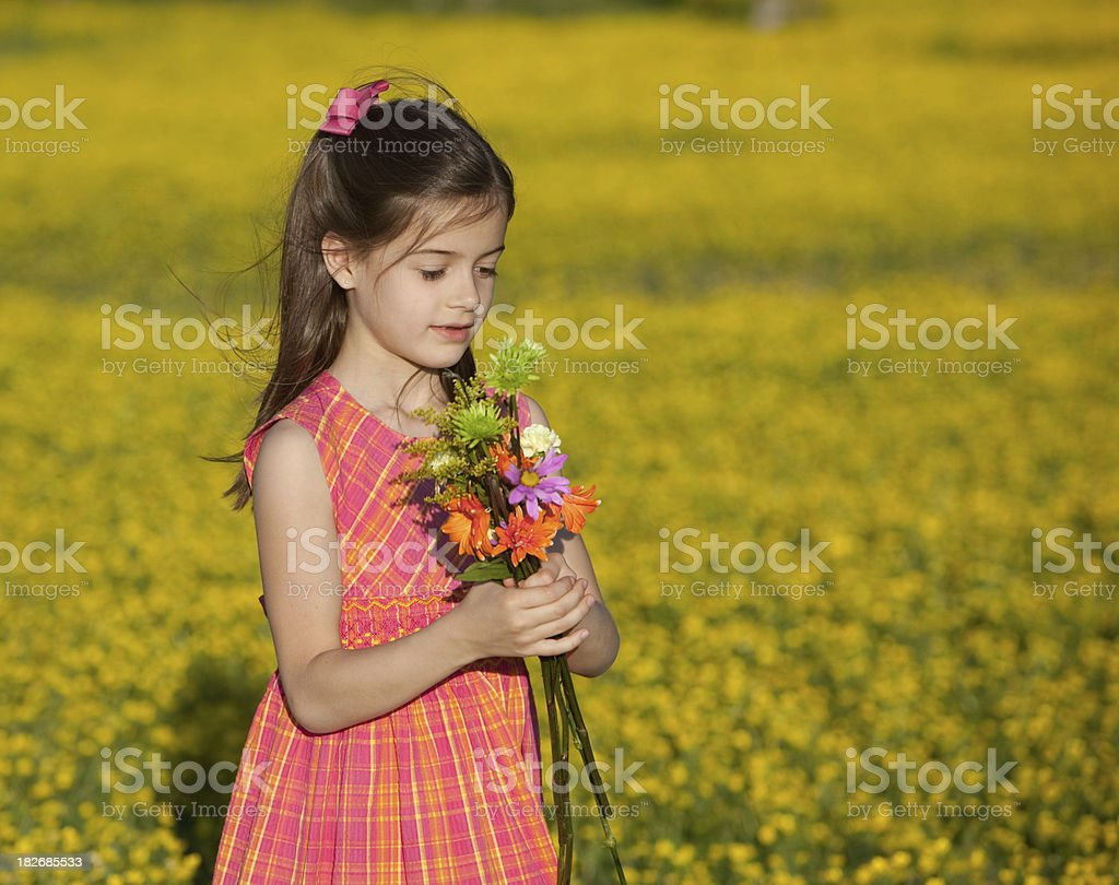 Little Girl with Spring Flowers royalty-free stock photo